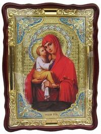 Почаевская Б.М., в фигурном киоте, цвет, с багетом. Большая Храмовая икона (82 Х 114)