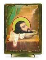Усекновение главы Иоанна Предтечи, икона под старину, на дереве (13х17)