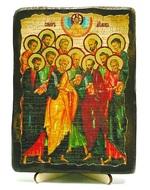 Собор 12 апостолов, икона под старину, на дереве (13х17)