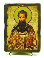 Василий Великий, икона под старину, на дереве (13х17)