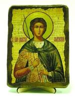 Дмитрий Солунский, икона под старину, на дереве (13х17)