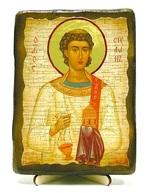 Стефан Первомученик, икона под старину, на дереве (13х17)