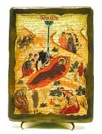 Рождество Христово, икона под старину, на дереве (13х17)