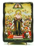 Всех скорбящих радость Б.М., икона под старину, на дереве (13х17)