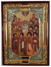 Оптинские старцы, в прямом киоте, с багетом. Храмовая икона (58 Х 79)