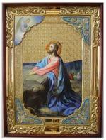 Моление о чаше, в прямом киоте, с багетом. Храмовая икона (58 Х 79)