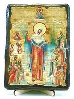 Всех скорбящих радость Б.М. (с грошиками), икона под старину, на дереве (13х17)