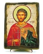 Евгений, Св.Мч, икона под старину, на дереве (13х17)