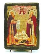 Зосима и Савватий, икона под старину, на дереве (13х17)