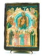 Собор Богородицы, икона под старину, на дереве (13х17)