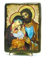 Святое семейство, икона под старину, на дереве (13х17)