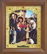 Благословение детей. Икона в деревянной рамке с окладом (Д-26псо-103)