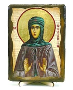 Мелания Римляныня, Преподобная, икона под старину, на дереве (13х17)