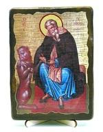 Герасим Иорданский, икона под старину, на дереве (13х17)
