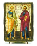 Петр и Павел (рост), икона под старину, на дереве (13х17)