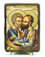 Петр и Павел (пояс), икона под старину, на дереве (13х17)