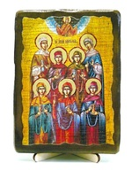 Жены-мироносицы, икона под старину, на дереве (13х17)