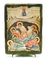 Семь отроков Эфесских, икона под старину, на дереве (13х17)