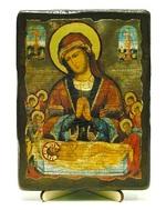 Положение во гроб, икона под старину, на дереве (13х17)