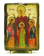 Вера, Надежда, Любовь, и мать их София, икона под старину, на дереве (13х17)