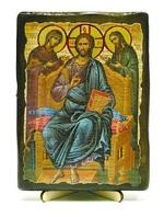 Деисус, икона под старину, на дереве (13х17)