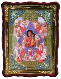 Неопалимая Купина Б.М., в фигурном киоте, с багетом. Храмовая икона (82 Х 114)