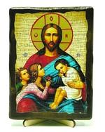 Благословление детей, икона под старину, на дереве (13х17)