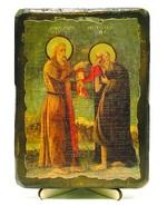 Мария Египетская и Зосима Палестинский, икона под старину, на дереве (13х17)