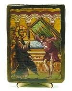 Исцеление расслабленного в Капернауме, икона под старину, на дереве (13х17)