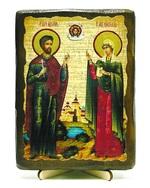 Адриан и Наталья, икона под старину, на дереве (13х17)