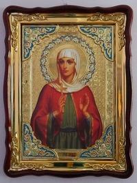 Алла, Св. муч., в фигурном киоте, с багетом. Храмовая икона (60 Х 80)