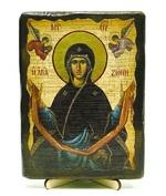 Пояс Пр.Богородицы, икона под старину, на дереве (13х17)