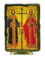 Константин и Елена, икона под старину, на дереве (13х17)