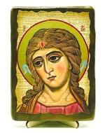 Ангел златовласый, икона под старину, на дереве (13х17)