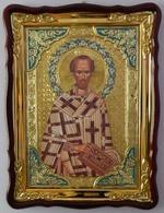 Иоанн Златоуст, в фигурном киоте, с багетом. Храмовая икона (60 Х 80)
