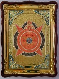 Всевидящее око, в фигурном киоте, с багетом. Храмовая икона (60 Х 80)