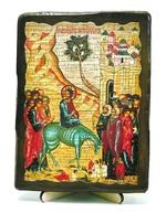 Вход Господень в Иерусалим, икона под старину, на дереве (13х17)