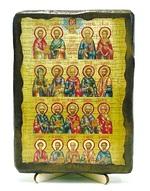Собор целителей, икона под старину, на дереве (13х17)