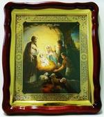 Рождество Христово (2), в фигурном киоте, с багетом. Храмовая икона (43 Х 50)