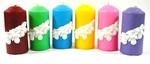 Свеча Столб с барельефом елочной ветки подарочная, (цвет микс), С 01-86
