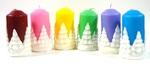 Свеча Столб с Елочным барельефом (цвет микс), С 01-76