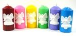 Свеча Столб с барельефом в виде колокольчика подарочная, (цвет микс), С 01-85