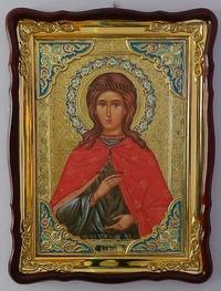Юлия Св. муч., в фигурном киоте, с багетом. Храмовая икона 60 Х 80 см.