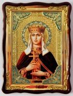 Людмила Св. муч., в фигурном киоте, с багетом. Храмовая икона 60 Х 80 см.
