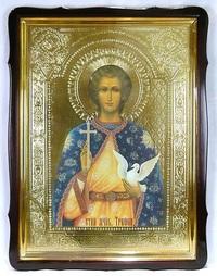 Трифон, Св. Муч., в фигурном киоте, с багетом. Храмовая икона 60 Х 80 см.
