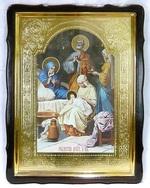 Рождество Пресвятой Богородицы, в фигурном киоте, с багетом. Храмовая икона 60 Х 80 см.