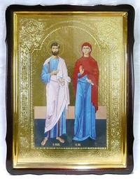 Иоаким и Анна, в фигурном киоте, с багетом. Большая Храмовая икона 60 Х 80 см.