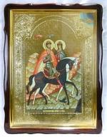Борис и Глеб (верхом), в фигурном киоте, с багетом. Храмовая икона 60 Х 80 см.