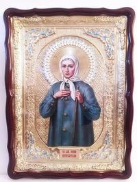 Ксения Петербургская, в фигурном киоте, с багетом. Храмовая икона (60 Х 80)