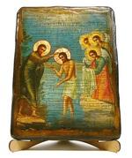 Богоявление, икона под старину, на дереве (17х23)